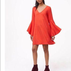 Loft Bell Sleeve Swing Dress Bright Red Brand New